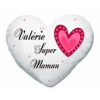 Coussin coeur blanc Super maman personnalisé avec prénom au choix