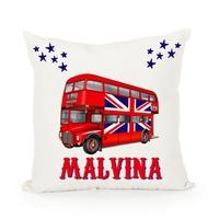 Housse de coussin Anglais Bus londonien personnalisée avec prénom