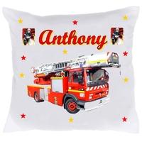 Housse de coussin Camion de pompier personnalisée avec prénom