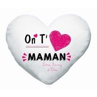 Coussin coeur blanc On t'aime maman personnalisé avec prénoms en signature