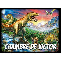 Plaque de porte en aluminium Dinosaure personnalisée avec texte au choix