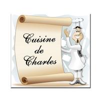 Plaque de porte Chef cuisinier personnalisée avec prénom