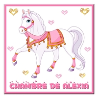 Plaque de porte Cheval de princesse personnalisée avec prénom