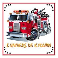 Plaque de porte Camion de pompier personnalisée avec prénom