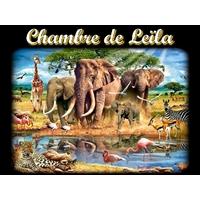 Plaque de porte en aluminium Animaux d' Afrique personnalisée avec texte au choix
