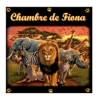 Plaque de porte Animaux d'Afrique personnalisée avec prénom