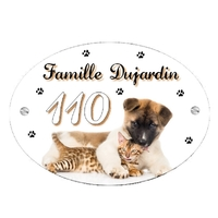 Plaque de maison Chien et chat personnalisée avec votre texte et numéro