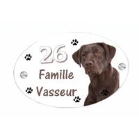 Plaque de maison Chien labrador personnalisée avec votre texte et numéro