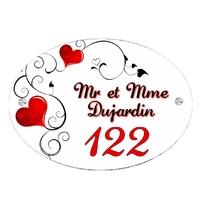 Plaque de maison Coeurs personnalisée avec votre texte et numéro