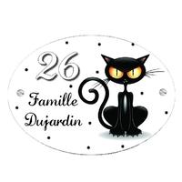 Plaque de maison Chat noir personnalisée avec votre texte et numéro