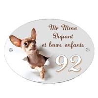 Plaque de maison Chien Chihuahua personnalisée avec votre texte et numéro
