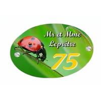 Plaque de maison Coccinelle personnalisée avec votre texte et numéro