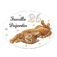 Plaque de maison Chat roux personnalisée avec votre texte et numéro