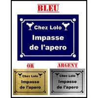 Plaque de rue APERO  personnalisée avec prénom