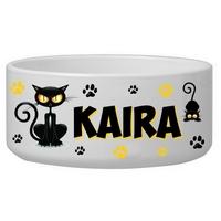Gamelle ecuelle pour chat CHAT NOIR personnalisée avec le nom de votre animal