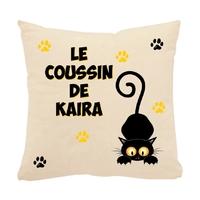Coussin écru pour chat noir personnalisé avec prénom