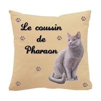 Coussin pour chat Chartreux personnalisé avec le nom de votre animal