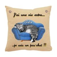 Coussin pour chat humour personnalisé avec le nom de votre animal