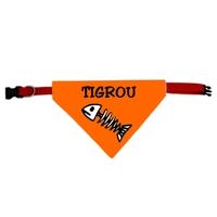 Collier pour chat bandana orange personnalisé avec le nom de votre animal