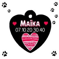 Médaille coeur pour animaux personnalisée avec nom et n° de téléphone