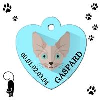 Médaille coeur pour chat Oriental personnalisée avec nom et n°de téléphone