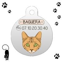 Médaille pour chat Bengal personnalisée avec nom et n°de téléphone