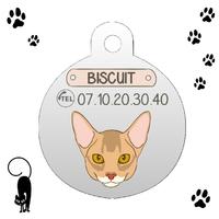 Médaille pour chat Abyssin personnalisée avec nom et n°de téléphone
