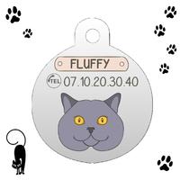 Médaille pour chat British Shorthair personnalisée avec nom et n°de téléphone