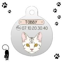 Médaille pour chat American shorthair personnalisée avec nom et n°de téléphone