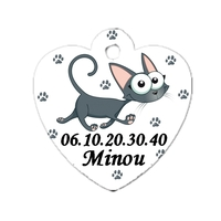 Médaille pour chat Cartoon personnalisée avec nom, numéro de téléphone....