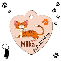 Médaille coeur chat cartoon personnalisée avec nom et n°de téléphone