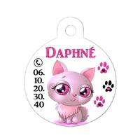 """Médaille pour chat """"Chat Beauté"""" personnalisée avec nom, numéro de téléphone...."""
