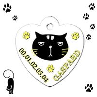 Médaille coeur pour chat personnalisée avec nom et n°de téléphone