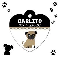 Médaille coeur pour Chien Carlin personnalisée avec nom et n° de téléphone