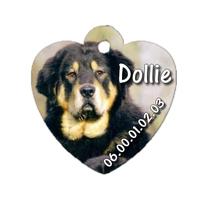 Médaille coeur pour chien Dogue du tibet personnalisée avec nom, numéro de téléphone