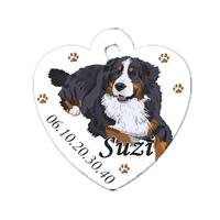 Médaille coeur pour chien Bouvier bernois personnalisée avec nom, numéro de téléphone