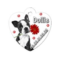 Médaille coeur pour chien Bouledogue français personnalisée avec nom, numéro de téléphone