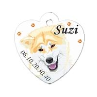 Médaille coeur pour chien Akita inu personnalisée avec nom, numéro de téléphone