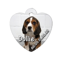 Médaille coeur pour chien Beagle personnalisée avec nom, numéro de téléphone