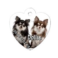 Médaille coeur pour chien Chihuahua personnalisée avec nom, numéro de téléphone
