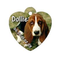 Médaille coeur pour chien Basset hound  personnalisée avec nom, numéro de téléphone