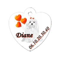 Médaille coeur pour chien Bichon personnalisée avec nom, numéro de téléphone