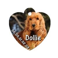 Médaille coeur pour chien Cocker personnalisée avec nom, numéro de téléphone