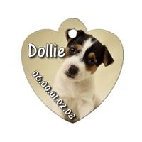 Médaille coeur pour chien Jack russel personnalisée avec nom, numéro de téléphone