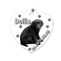Médaille coeur pour chien Labrador noir personnalisée avec nom, numéro de téléphone