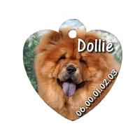 Médaille coeur pour chien Chowchow personnalisée avec nom, numéro de téléphone