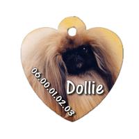 Médaille coeur pour chien Pékinois personnalisée avec nom, numéro de téléphone