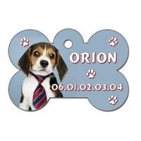 Médaille Os Chien Beagle personnalisée avec nom et n° de téléphone