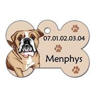 Médaille pour chien Bouledogue anglais personnalisée avec nom, numéro de téléphone