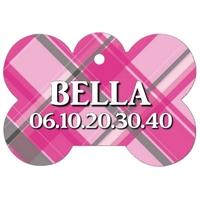 Médaille pour chien A Carreaux roses personnalisée avec nom, numéro de téléphone